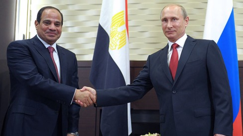 Russian President Vladimir Putin (R) shakes hands with his Egyptian counterpart Abdel Fattah al-Sisi (L) during their meeting at the Bocharov Ruchei residence in Sochi on August 12, 2014 during the Egyptian leader's first official visit to Russia. (AFP Photo / Alexei Druzhinin)